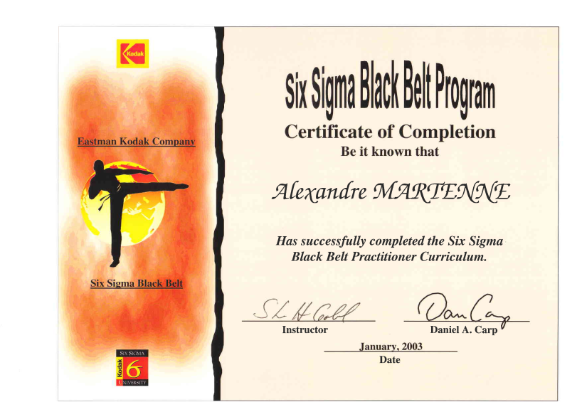 Diplome 2003 6 sigma Black Belt